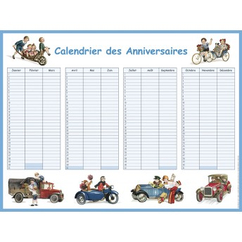 Calendar of birthday the vehicles