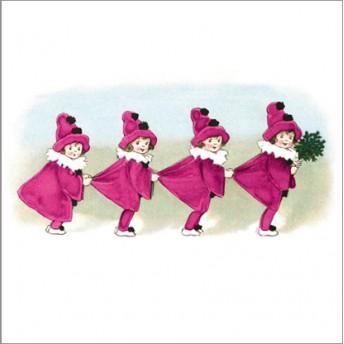 Postcard square pinks girls