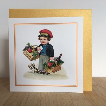 Double greeting card: a delivery man