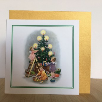 Double greeting card: Christmas tree