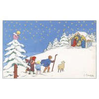 Postcard the shepherd and the crib