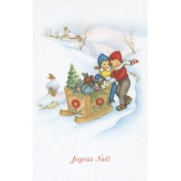 Postcard toy sled
