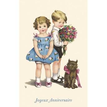 Postcard flowers birthday