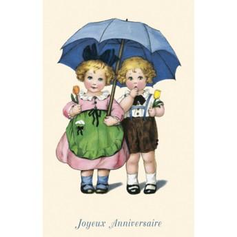 Postcard blue umbrella