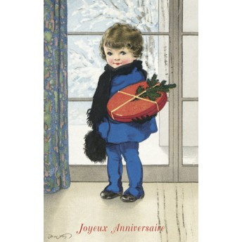 Carte postale garçonnet en bleu