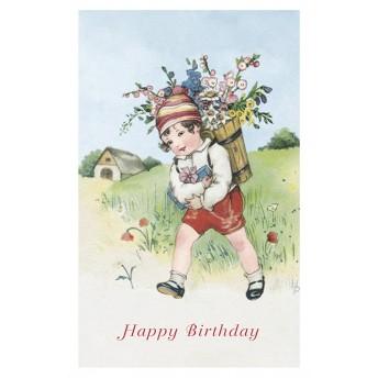 Postcard boy and his flowery hood