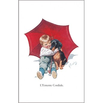 Postcard red umbrella