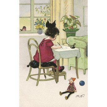 Postcard studious girl