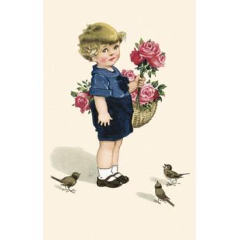 Postcard basket of roses