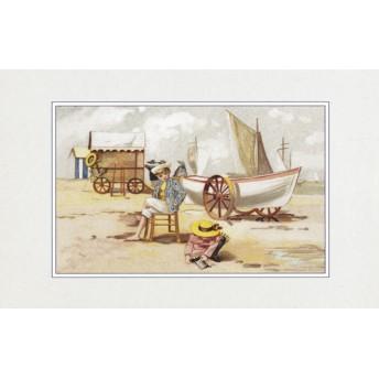 Postcard rolling boat