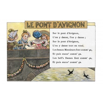 "Postcard Children's songs: ""Le Pont d'Avignon"""