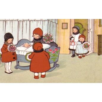 Carte postale visite bébé