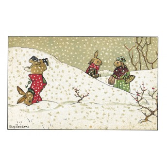 Postcard rabbits under the snow