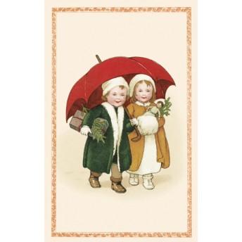Postcard red umbrella