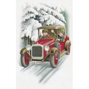 Postcard red car