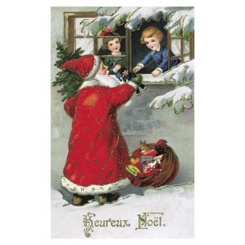 Postcard Santa Claus and children