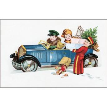 Postcard car and Christmas presents