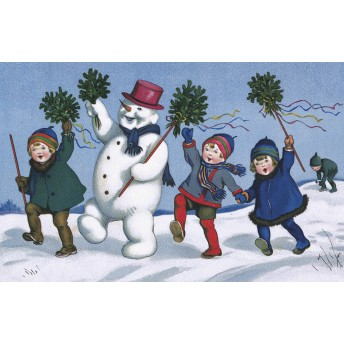 Postcard animated snowman