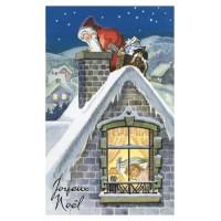 Carte postale Père Noël cheminée