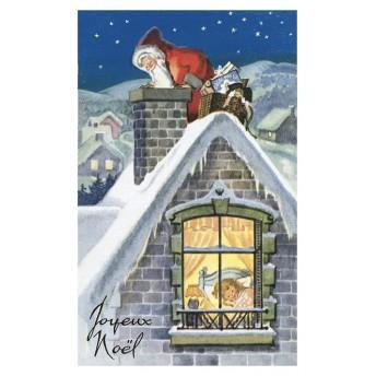 Postcard Santa Claus fireplace