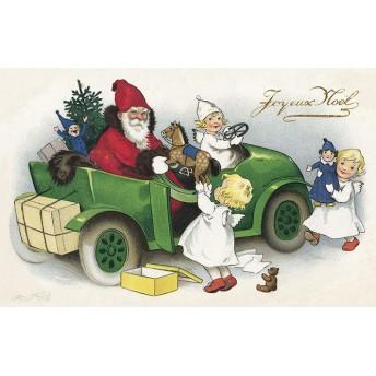 Postcard Santa Claus and his green car