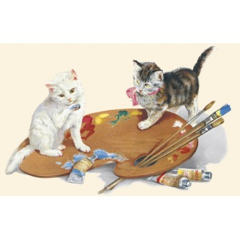 Postcard cats painting