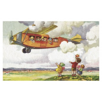 Postcard orange aircraft