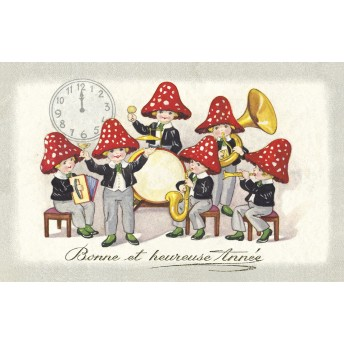 Postcard musicians mushrooms