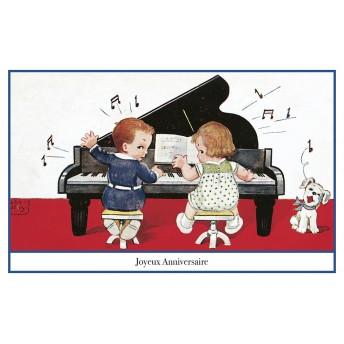 Postcard piano birthday