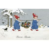 Postcard children in blue