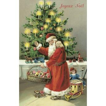 Postcard Santa Claus and christmas tree