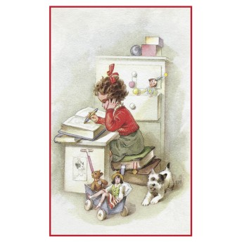 Postcard girl's desk