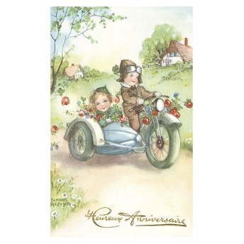 Postcard flowery sidecar