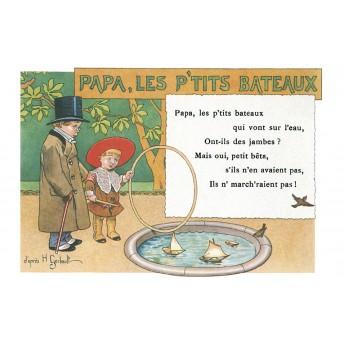"""Postcard Children's songs: """"Papa, les petits bateaux"""""""