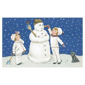 Postcard snowman blue sky