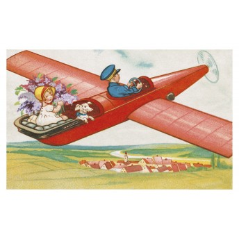 Postcard red plane