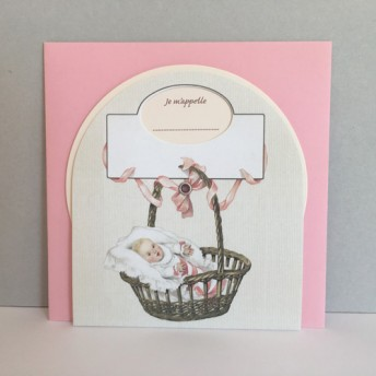 Little disc birth announcement card basket