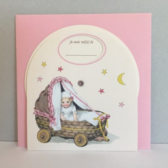 Little disc birth announcement card bassinet