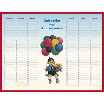 Board calendar of birthday balloons
