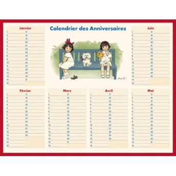 Tableau Calendrier des anniversaires banc